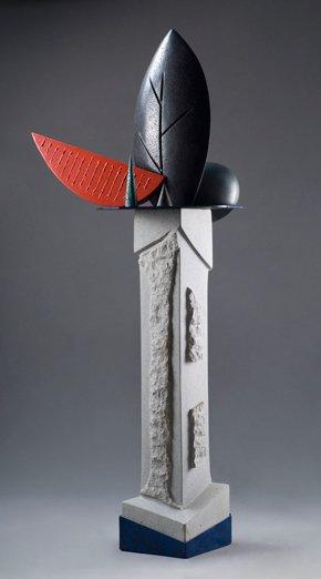 BODEGÓN 1, piedra y hierro, 185 x 70 x 62 cm, 2003.
