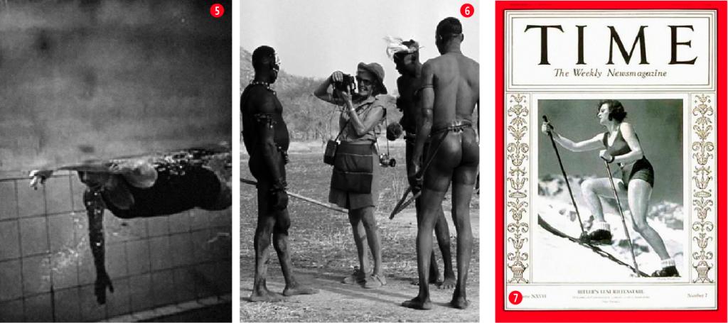 5. Cámaras subacuáticas. Se sumergía con los nadadores para filmarlos. Fueron las primeras imágenes submarinas en las pruebas de natación, juegos olímpicos de Múnich 1972. 6. Leni fue bailarina, alpinista, buceadora, vivió con los primitivos nubas de África, fotógrafa, actriz y directora. 7. Leni Riefenstahl en la portada de la revista Time en 1936.