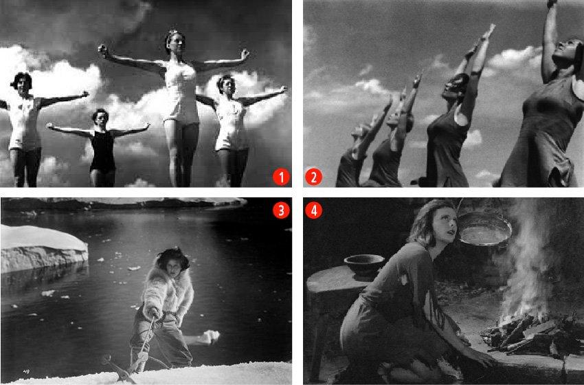 1. 2. Escenas de la película Olympia, de Leni Riefenstahl, un documental sobre las Olimpiadas de Verano de 1936, que se celebraron en Berlín. 3. Leni Riefenstahl en SOS Iceberg. 4. Imagen de La luz azul, película de montaña, donde es la protagonista.