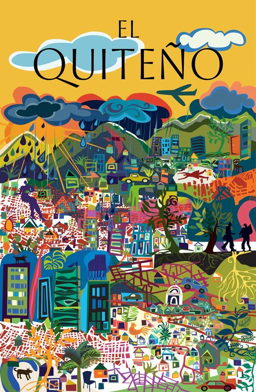 Portada ganadora del proyecto municipal El Quiteño, a partir de las clásicas portadas de la revista The New Yorker, 2018.