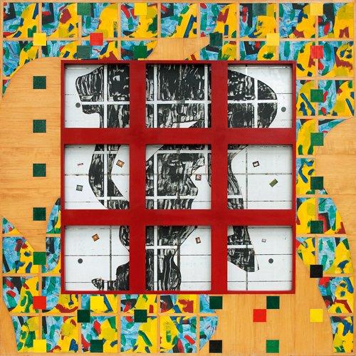 aeiou, Variación 3, mixta sobre tela, madera y metal, 1992.