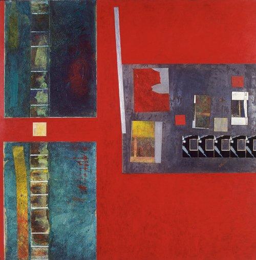 Cartografía, mixta sobre tela, papel, madera y metal, 1993.