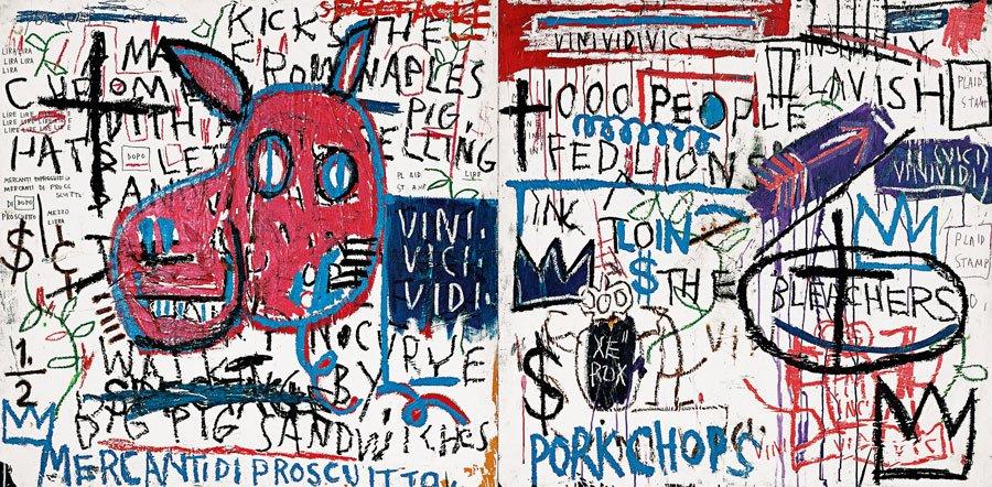 EL HOMBRE DE NAPOLES, 1982, Jean M. Basquiat, acrílico y collage sobre madera.