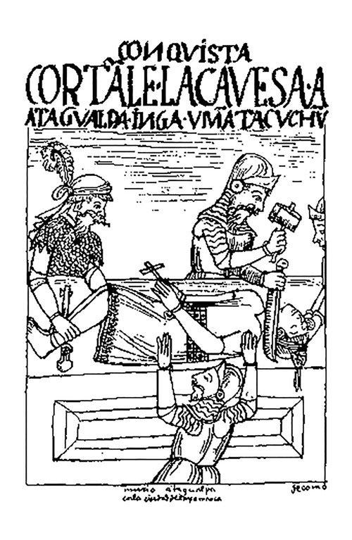 La muerte de Atahualpa (dibujo de Guamán Poma de Ayala) significó la premura por esconder los tesoros incas.