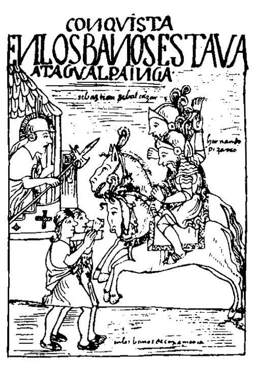 Gonzalo Pizarro (al centro) recibiendo a Francisco de Carvajal (a la derecha).