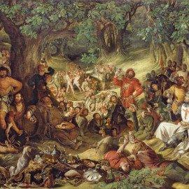 En este óleo de Daniel Maclise se representa el momento en que Robin Hood y sus hombres agasajan a Ricardo Corazón de León a su vuelta de la cruzada.