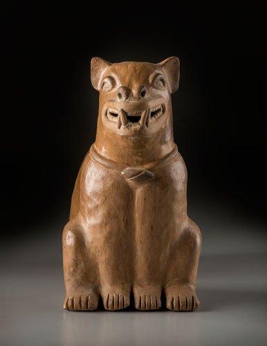 Botella silbato en forma de perro. Cultura Bahía (300 a. C.-400 d. C.).