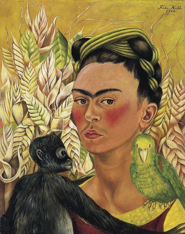 Autorretrato con chango y loro, Frida Khalo, 1942.