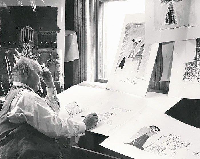 Ludwig Bemelmans haciendo el boceto de su personaje estrella, Madeline, 1959.