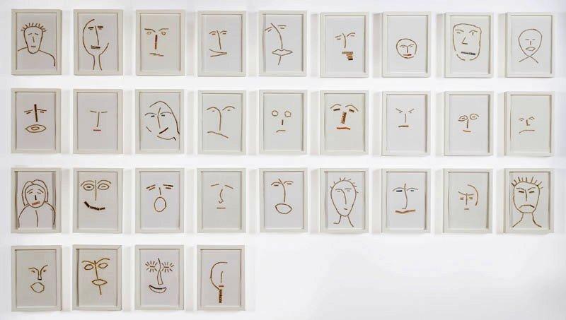 """""""Los incorruptibles"""", collages con recortes de periódicos, 2010."""
